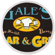 Bar And Grill Sign Round Beach Towel