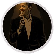 Barack Obama Round Beach Towel by Helmut Rottler