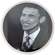 Barack Obama Round Beach Towel by Richard Le Page