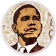 Barack Obama Words Of Wisdom Coffee Painting Round Beach Towel by Georgeta  Blanaru