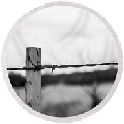 Barb-wire Fence Round Beach Towel
