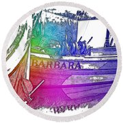 Barbara Cool Rainbow 3 Dimensional Round Beach Towel