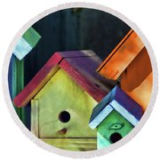 Barbara's Birdhouses Round Beach Towel