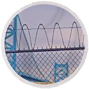 Barbed Wire Bridge Round Beach Towel