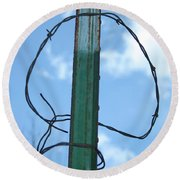 Barbed Wire Sky Round Beach Towel