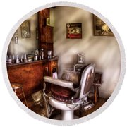 Barber - In The Barber Shop  Round Beach Towel