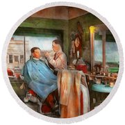 Barber - Getting A Trim 1942 - Side By Side Round Beach Towel