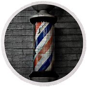 Barber Pole Blues  Round Beach Towel