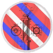 Barber Pole Patent Round Beach Towel