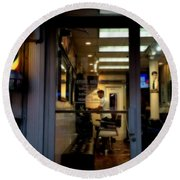 Barber Shop At Closing Time Round Beach Towel