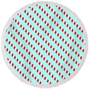 Barber Shop Wallpaper Round Beach Towel