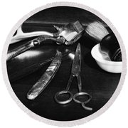 Barber - Things In A Barber Shop - Black And White Round Beach Towel