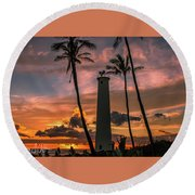 Barber's Point Lighthouse Round Beach Towel