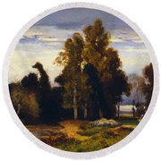 Barbizon Landscape Round Beach Towel