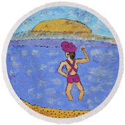 Barb's Beach Waving Round Beach Towel