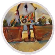 Barb's Bird House Round Beach Towel