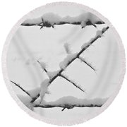 Barbwire Fence In Snow 1 Round Beach Towel