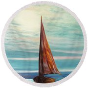 Barca Al Chiar Di Luna Round Beach Towel