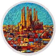 Barcelona Abstract Cityscape - Sagrada Familia Round Beach Towel