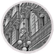 Barcelona Balconies In Black And White  Round Beach Towel