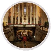 Barcelona Cathedral High Altar And St Eulalia Crypt Round Beach Towel