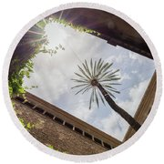 Barcelona Courtyard With Palm Tree Round Beach Towel