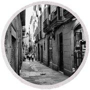 Barcelona Small Streets Bw Round Beach Towel