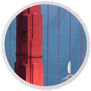 Barcode Of The Bay Scanned With Sails On A Beautiful Day Round Beach Towel