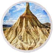 Bardenas Desert Last Man Standing - Vintage Version Round Beach Towel