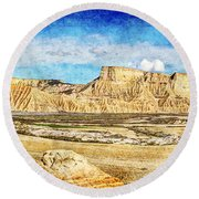Bardenas Desert Panorama 3 - Vintage Version Round Beach Towel