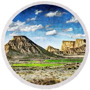 Bardenas Desert Panorama 4 - Vintage Version Round Beach Towel