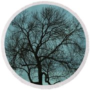 Bare Branches And Storm Clouds Round Beach Towel