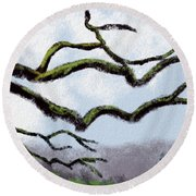 Bare Tree Branches Round Beach Towel