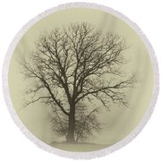 Bare Tree In Fog- Nik Filter Round Beach Towel