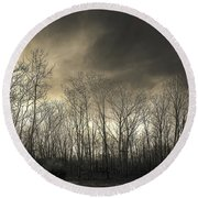 Bare Trees In A Winter Sunset Round Beach Towel