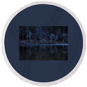 Bare Trees Reflected Round Beach Towel