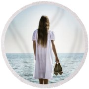 Barefoot At The Sea Round Beach Towel
