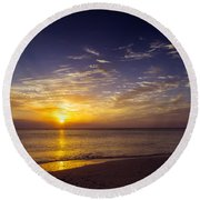 Barefoot Beach Preserve Sunset Round Beach Towel