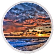 Barefoot Beach Sunset Round Beach Towel