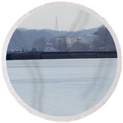 Barge In The Bank Round Beach Towel