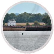 Barge On Tennessee River At Shiloh National Military Park Round Beach Towel