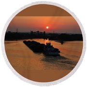 Barge On The Ohio. Round Beach Towel