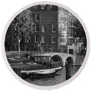 Barges By The Bridge Round Beach Towel