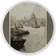 Barges On The South Bank Round Beach Towel