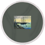 Bark Carthaginian Robert Lyn Nelson Round Beach Towel