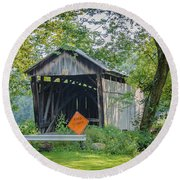 Barkhurst Covered Bridge  Round Beach Towel