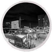 Barking Crab Boston Ma Black And White Round Beach Towel
