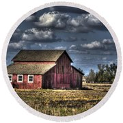 Barn After Storm Round Beach Towel