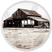 Barn And Irrigation Pipes Round Beach Towel