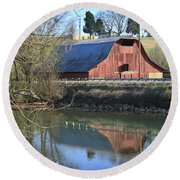 Barn And Reflections Round Beach Towel
